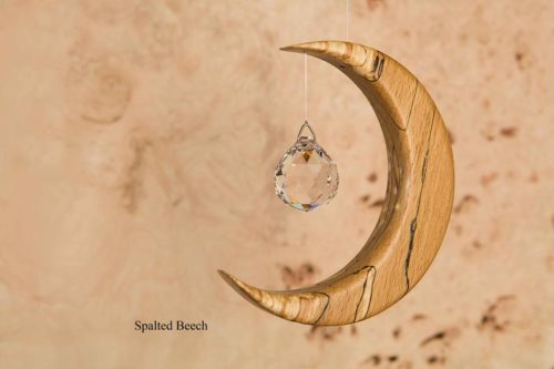 Medium Moon Suncatcher with Angel or Sphere Crystal