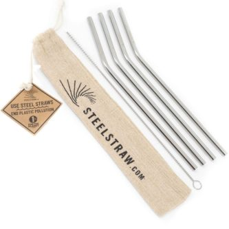 Metal Straws Gift Set with Straws, Bag, and Cleaning Brush