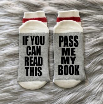 pass me my book funny printed comfy socks