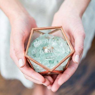 Personalized Geometric Glass Ring Box