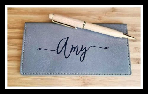 customized checkbook holder