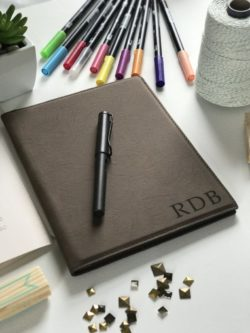 Personalized leather portfolio journal