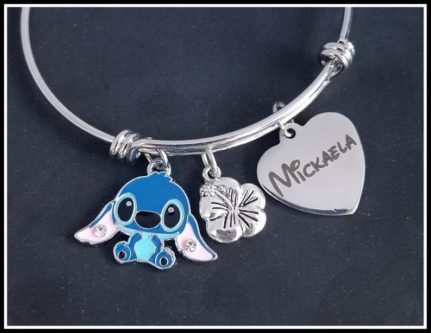Personalized Stitch Charm Bracelet