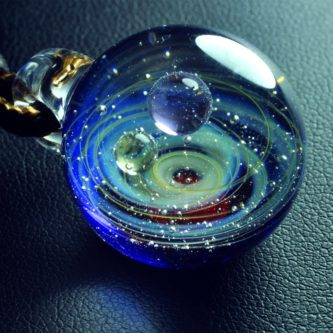 Planet and Stars in Glass Dome Pendant