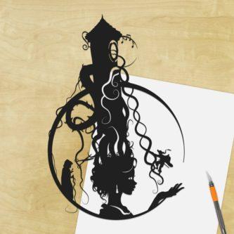 Rapunzel Tower Hair Shadow Cut Art