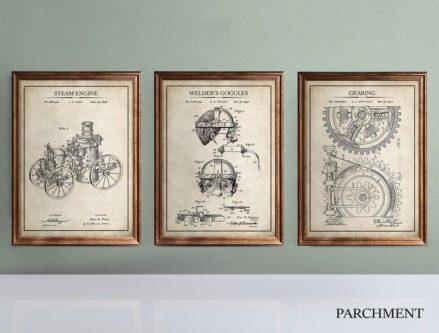 patent style steampunk design print decor gifts
