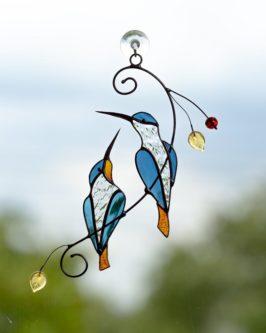Stained Glass Hummingbird Window Hanging