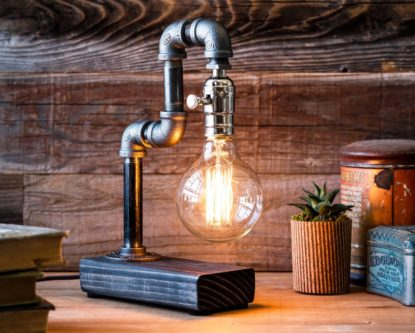 Steampunk themed table lamp pipe built