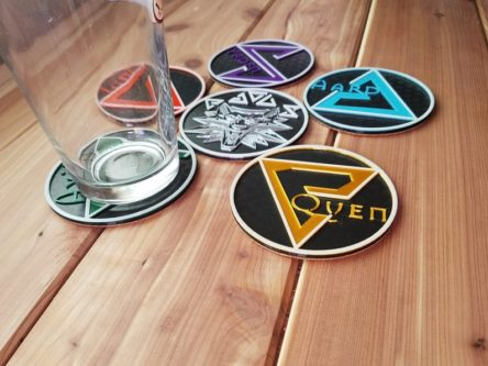 the witcher signs coaster set with pendant gifts for witcher fans