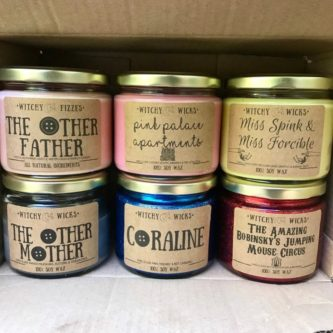 Coraline themed handmade soy candles