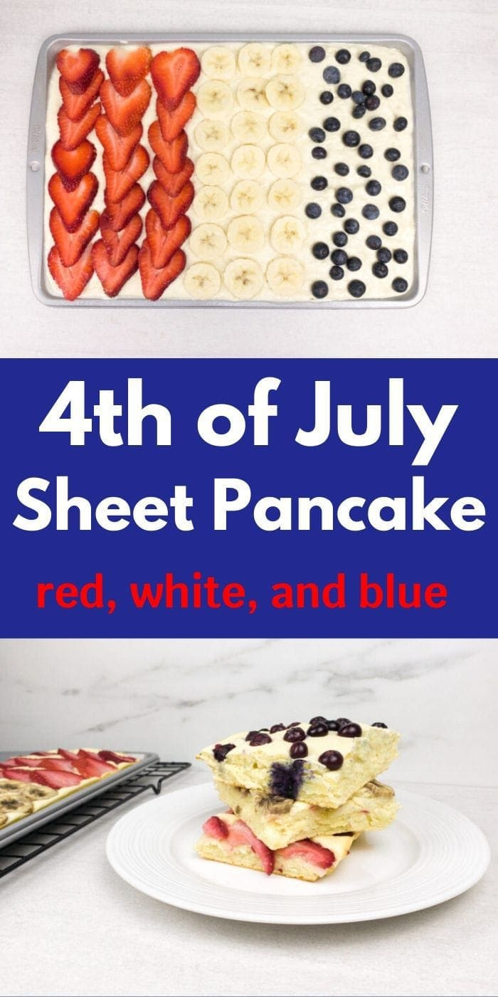 Fourth of July Red, White and Blue Sheet Pancake | Breakfast | Holiday Food | Independence Day Food | 4th of July Recipe | Patriotic Food | Creative Recipes | #food #recipe #patriotic #redwhiteblue #american #festive #uniquegifter
