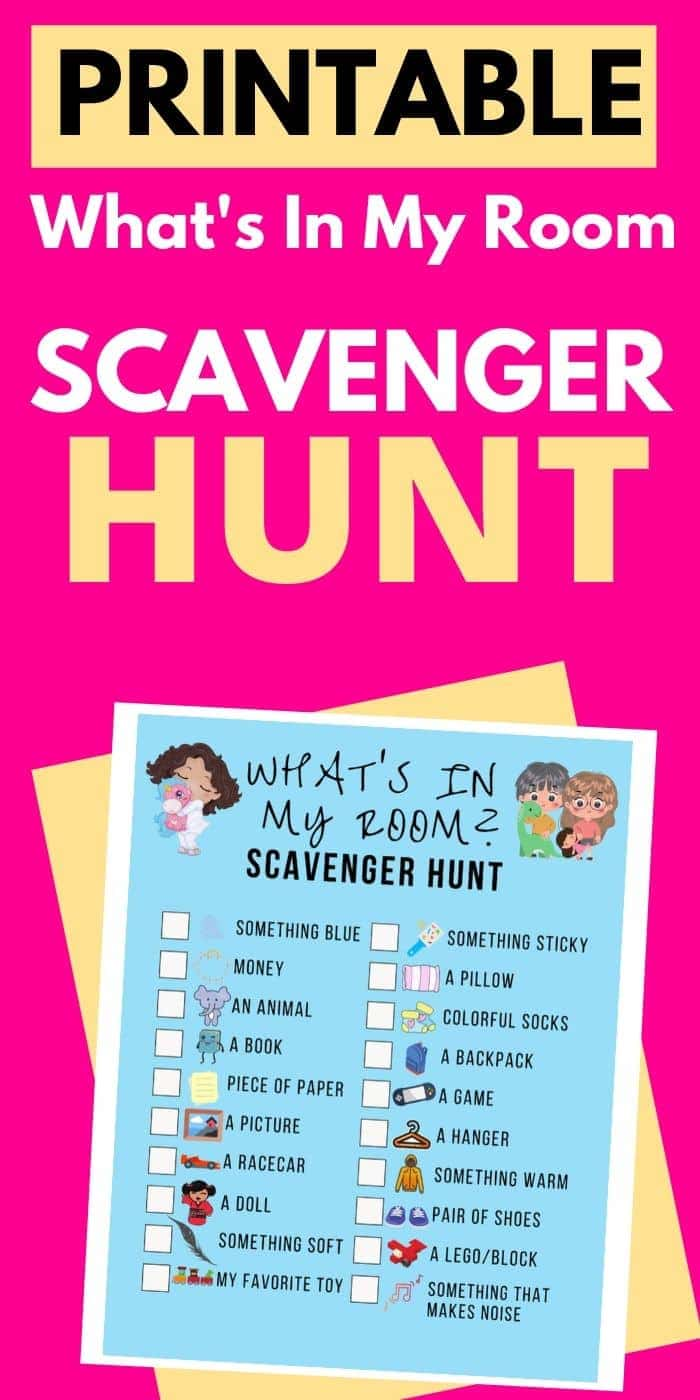 "FREE Printable Indoor ""In My Room"" Scavenger Hunt 