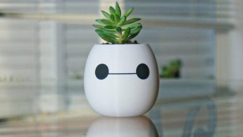 Cute Baymax head white planter