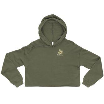 womens jungle cruise drap green cutoff hoodie