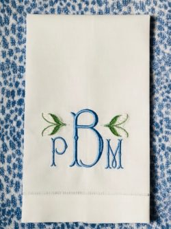 monogram may birth month flower towel gift idea