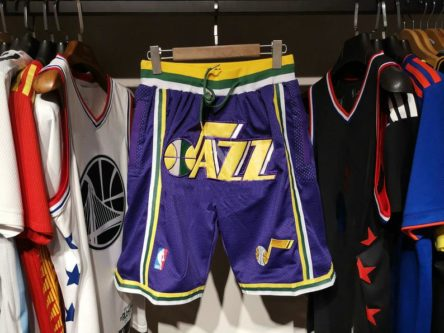 Vintage Jazz shorts logo and team colors