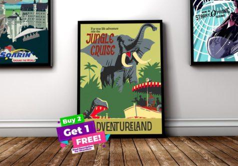 retro style jungle cruise ride poster
