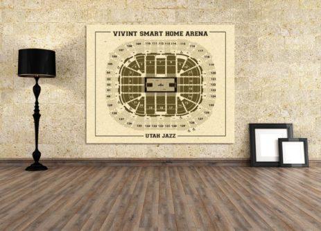 Vintage Utah jazz stadium poster interior wall decor