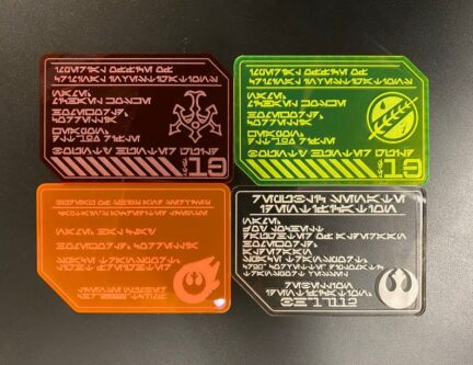 Star WArs fan galaxy's egde inspired character faction badges