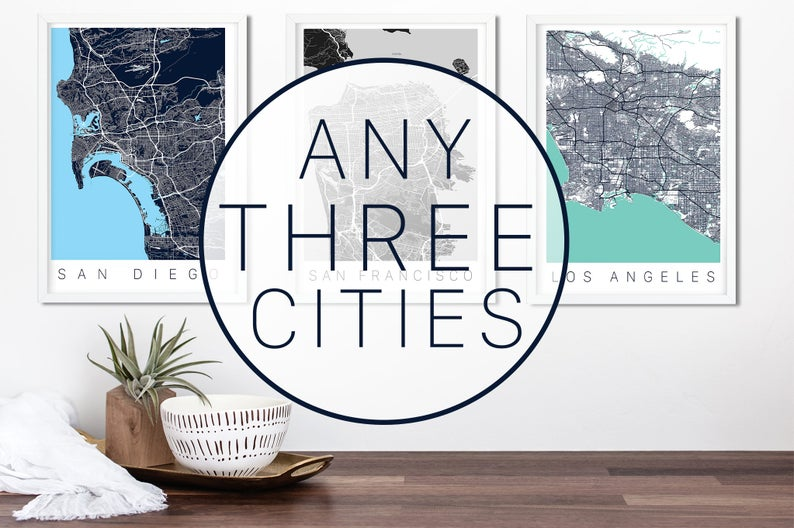 Travel themed posters gift for writers set of 3