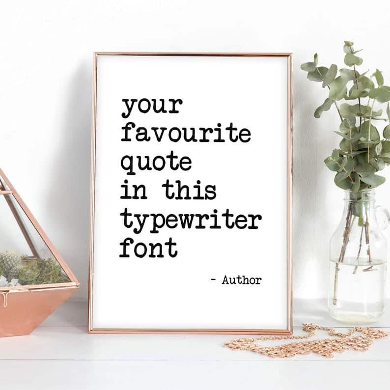 Customized typewriter font art decor gift for writers
