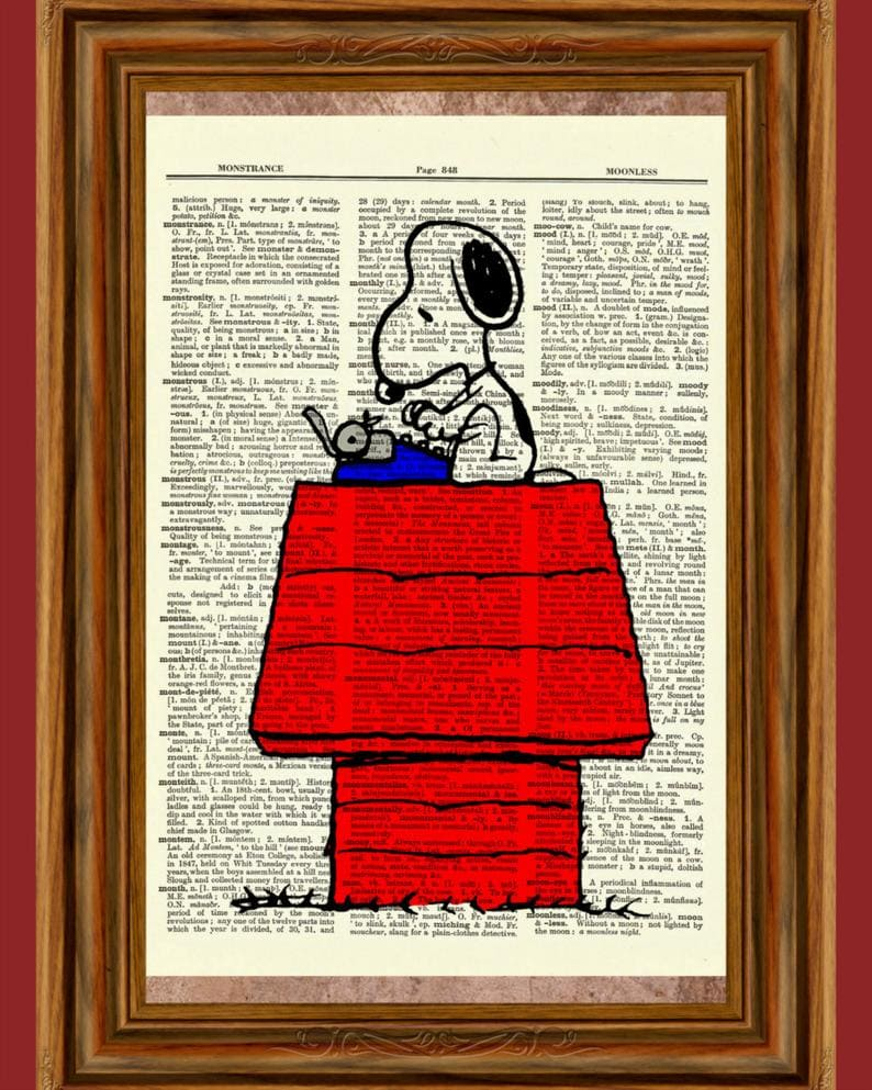 Snoopy typewriter dictionary wall art framed
