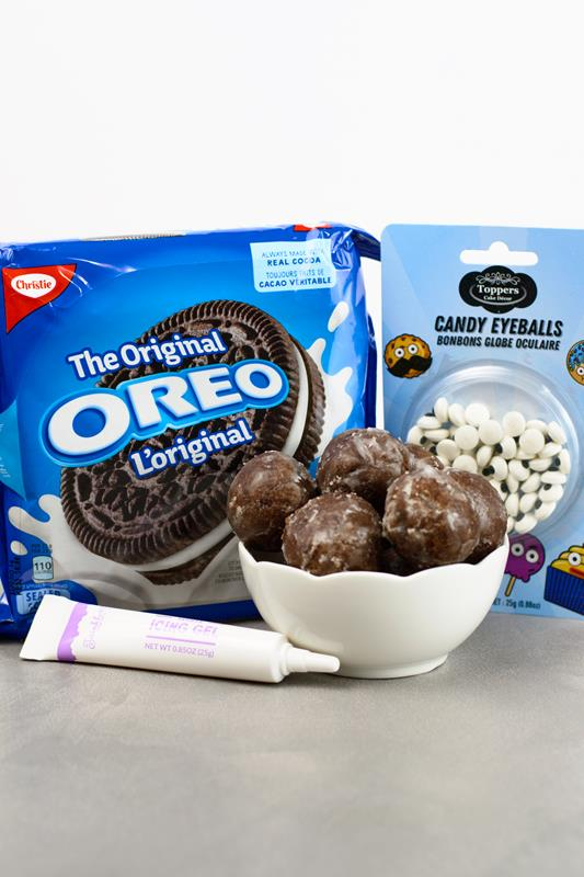 Oreos icing ingridients for making bat donut holes