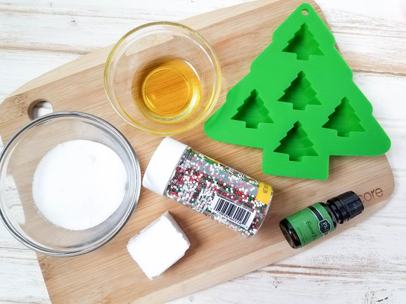 Christmas tree sugar scrub ingridients DIY on a table