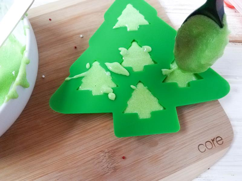 mixing ingridients into silicone Christmas tree mould