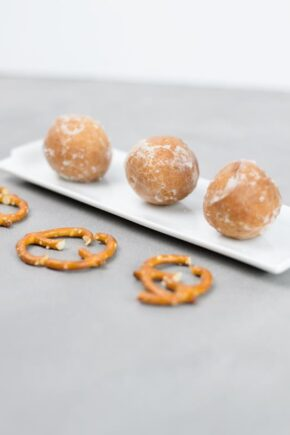 Donut holes timbits on a plate for making Christmas snacks