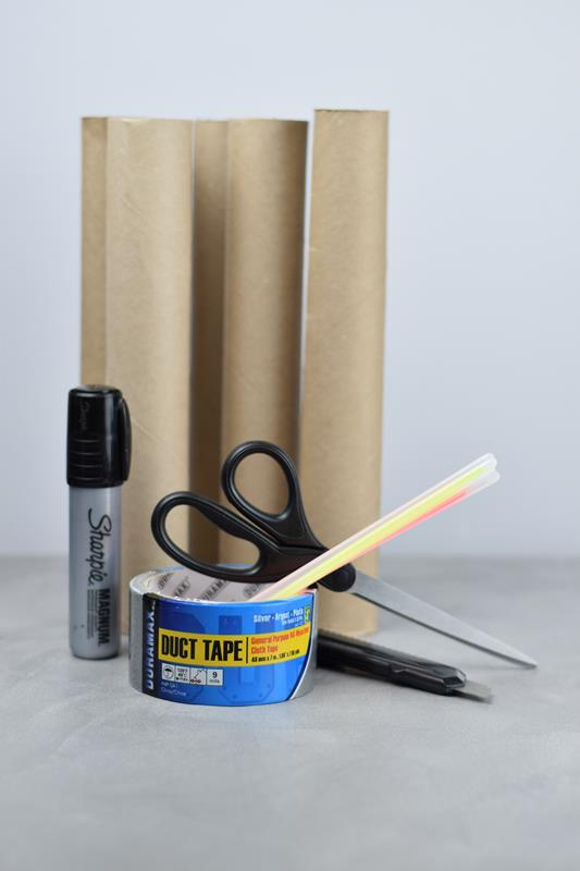 craft supplies for making glowing halloween eyes craft for kids