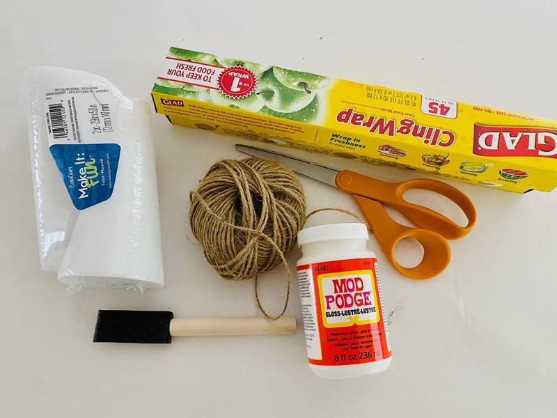 craft supplies for making DIY twine Christmas trees