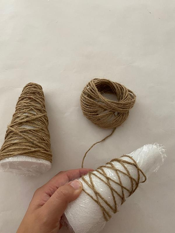 Foam cones wrapped in twine for DIY Farmhouse jute Christmas trees