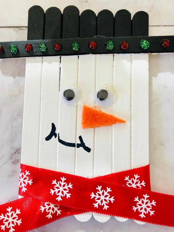 Popsicle Stick Snowman Craft for Kids