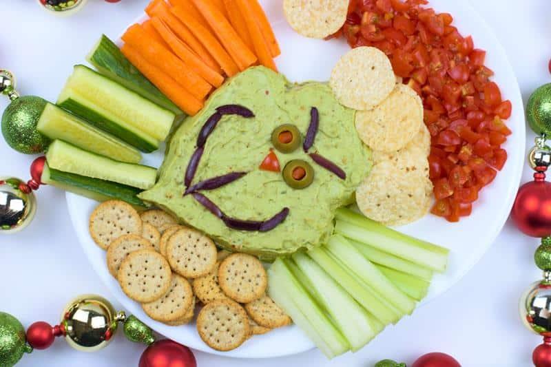 nostalgic guacamole dip shaped like the Grinch who stole Christmas snack recipe