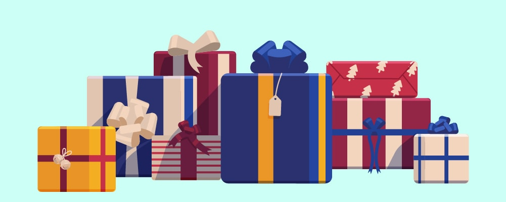 Many different types of wrap presents