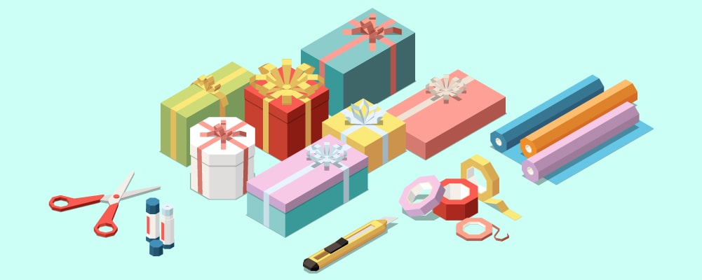 wrap presents with gift, wrap scissors, glue, box cuter, and ribbon