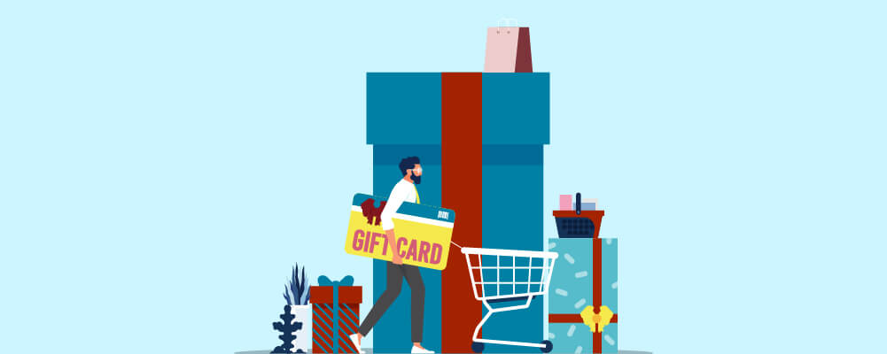 Man buying awesome gifts using some gift cards and discount coupon